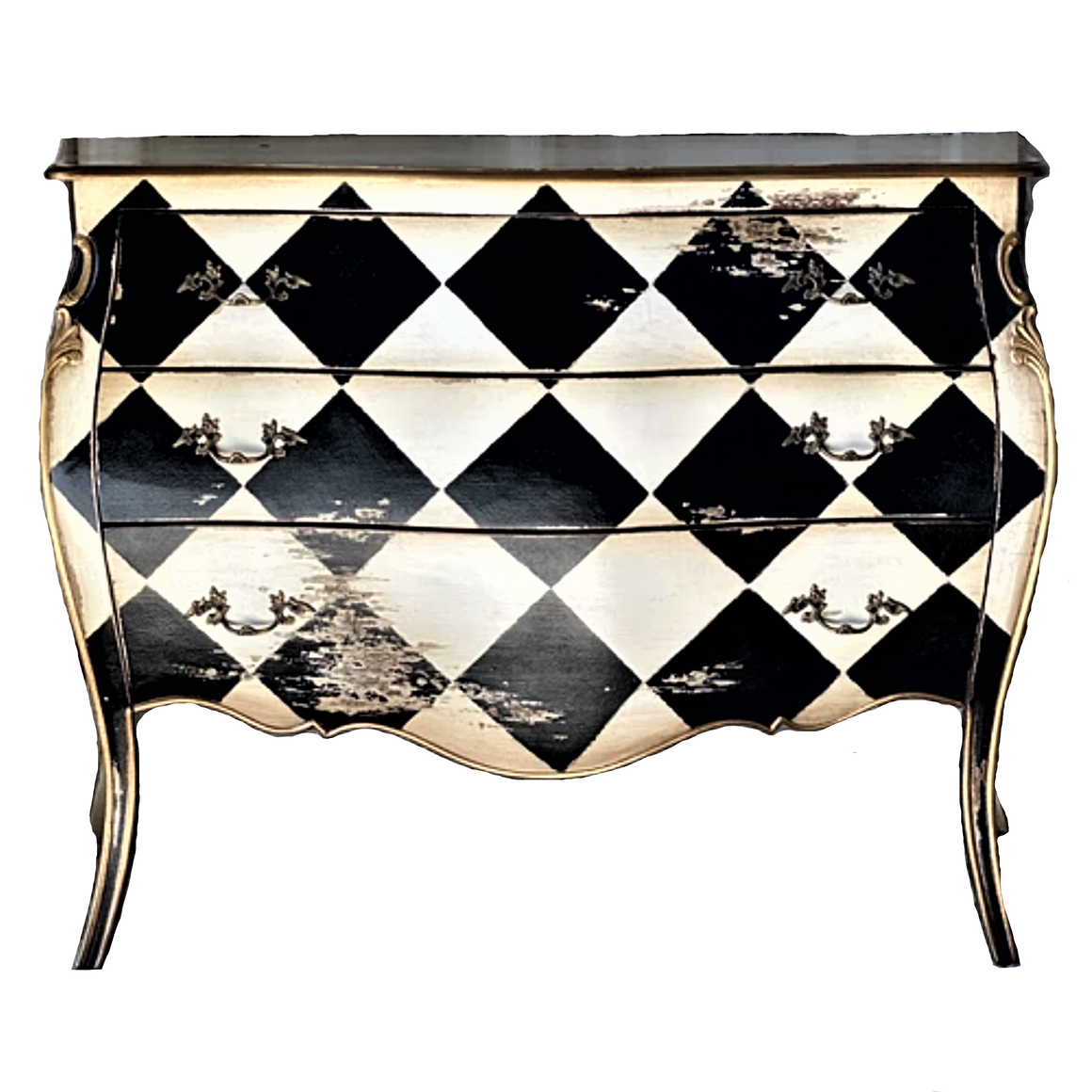 FRENCH 1920'S VINTAGE STYLE HARLEQUIN COMMODE
