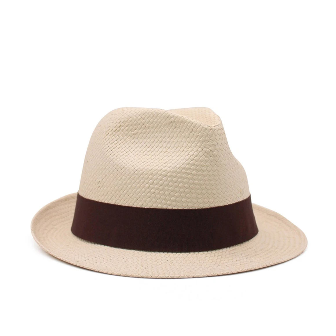 BEIGE & BROWN TRILBY - 100% STRAW