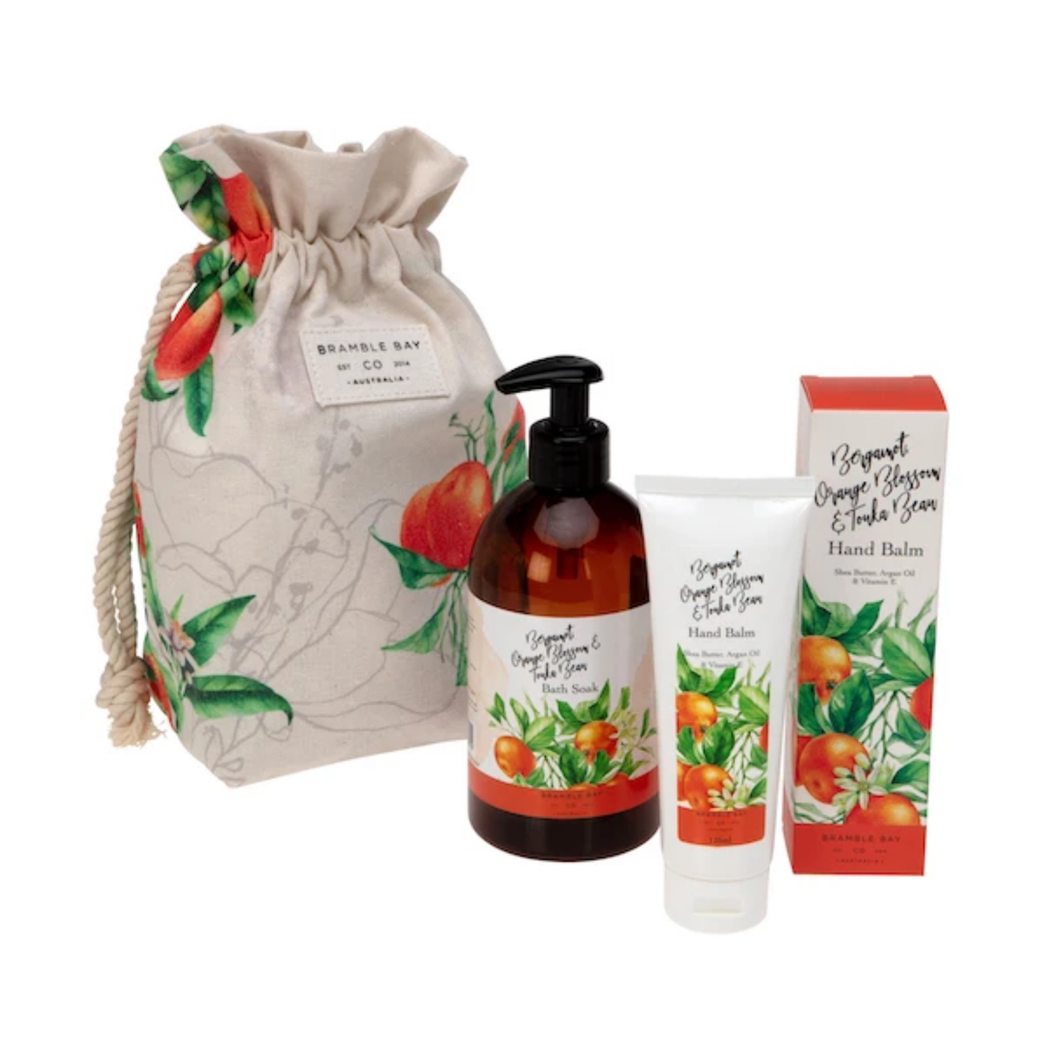 GIFT BAG BERGAMOT, ORANGE BLOSSOM & TONKA BEAN (HAND BALM, BODY WASH & SPONGE)