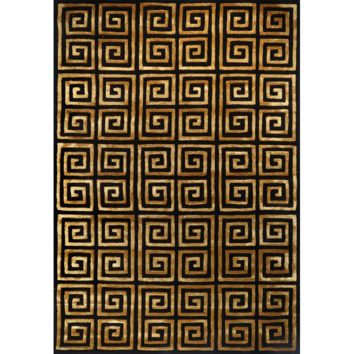 VERSACE STYLE BLACK GOLD HAND TUFTED RUG