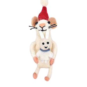 MUMMA MOUSE WITH BABY MOUSE HANDCRAFTED 14CM (H)