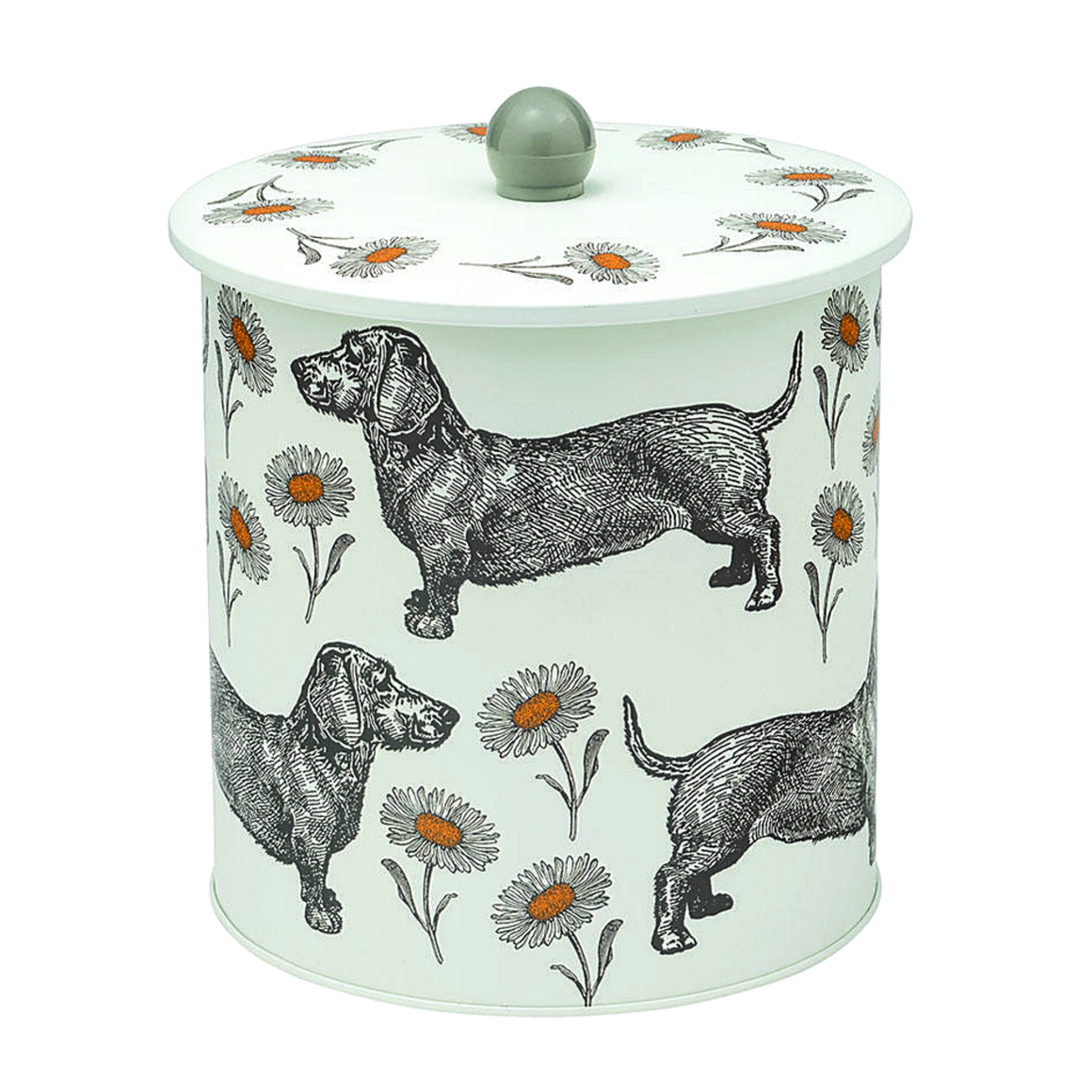 DOG & DAISY BISCUIT BARREL / MADE IN THE UK