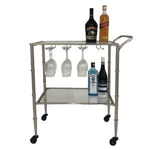BAR TROLLEY CHAMPAGNE GOLD METAL FRAME CLEAR GLASS