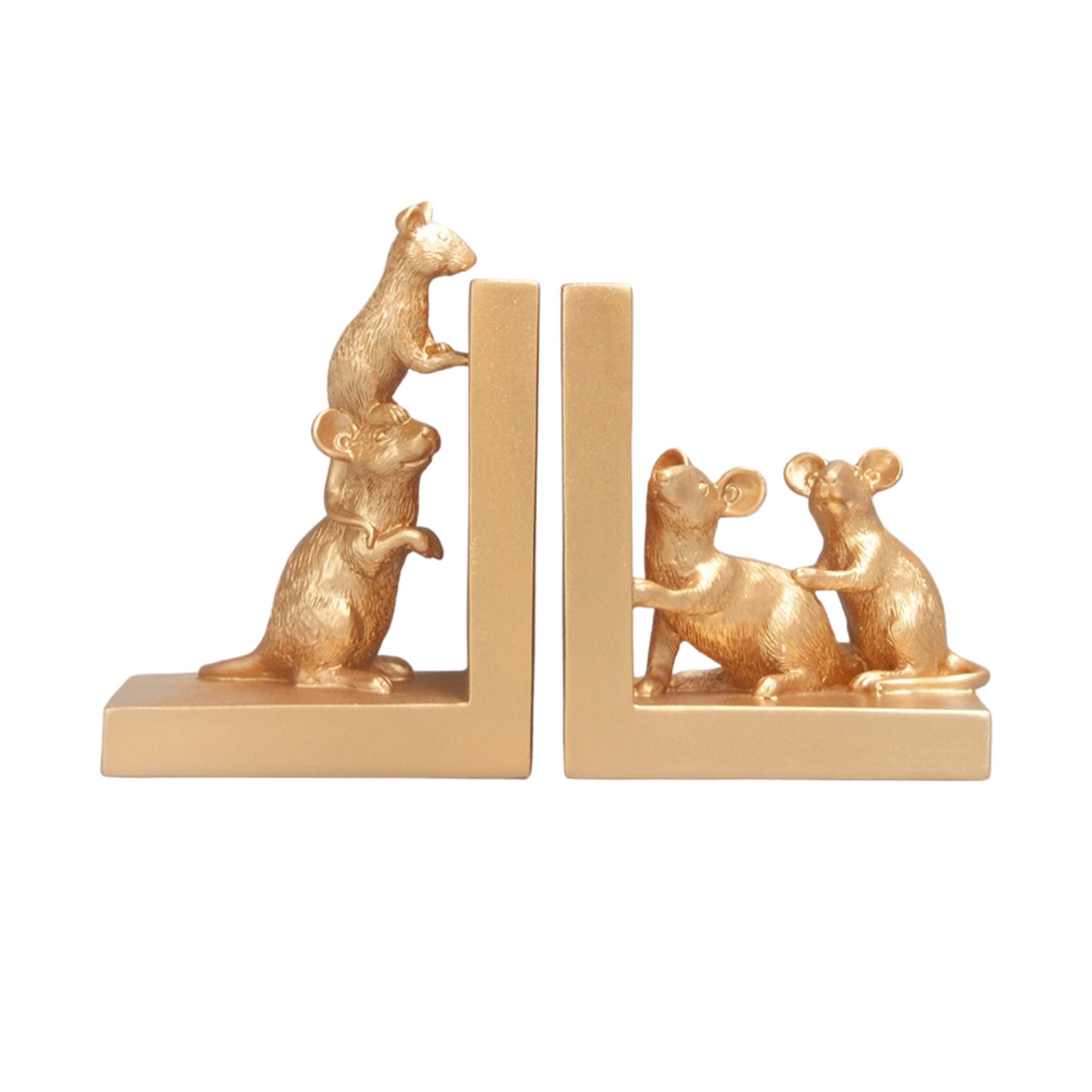 MOUSE BOOKENDS - GOLD