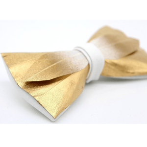 FEATHER BOW TIE GOLD HANDCRAFTED - Bowerbird on Argyle