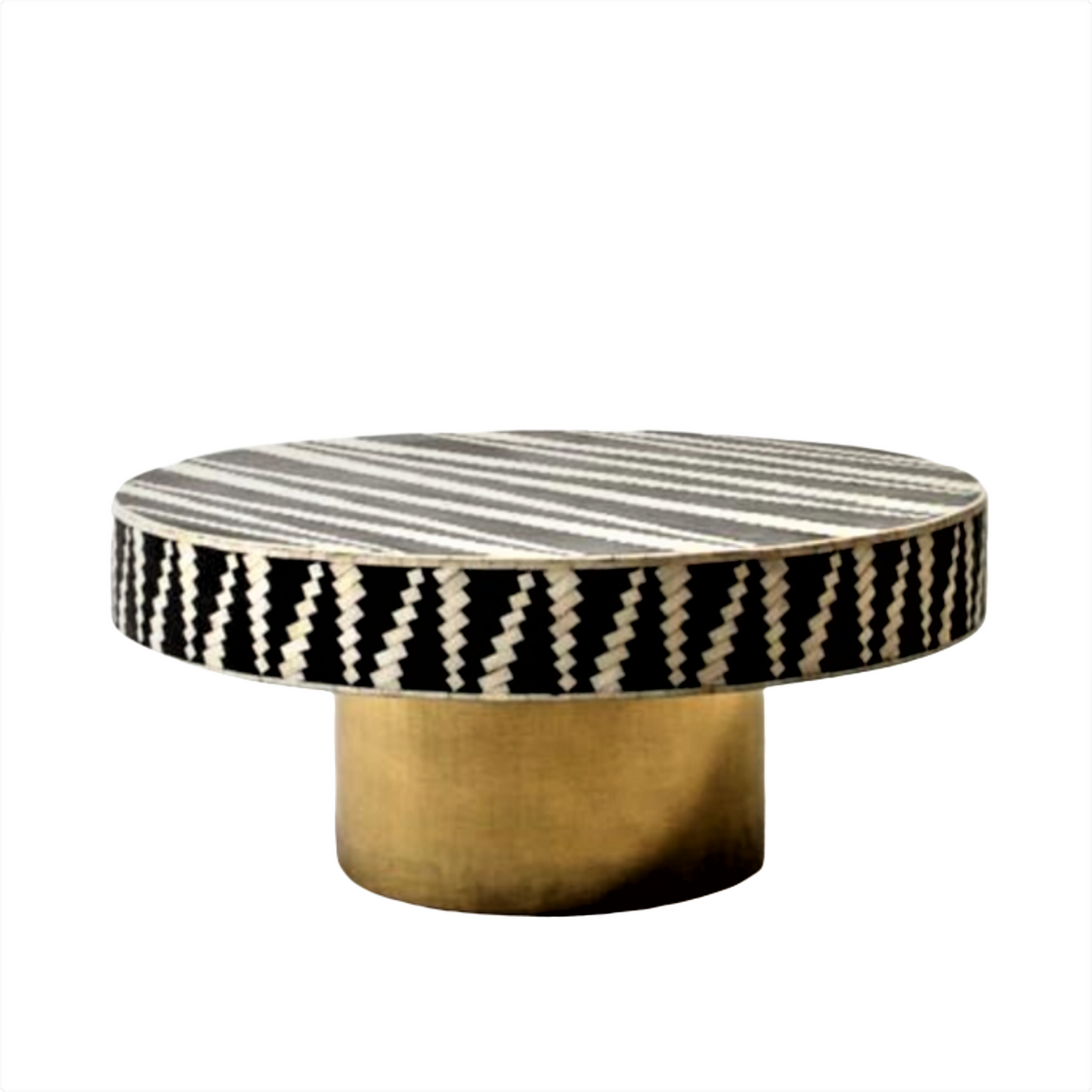 'MANDIKA BONE INLAY COFFEE TABLE WITH BRASS FINISH BASE