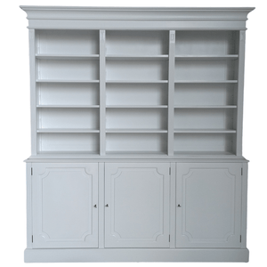 SOLID MAHOGANY HAMPTONS STYLE BOOKCASE/LIBRARY WHITE  C/W ADJUSTABLE SHELVES - Bowerbird on Argyle