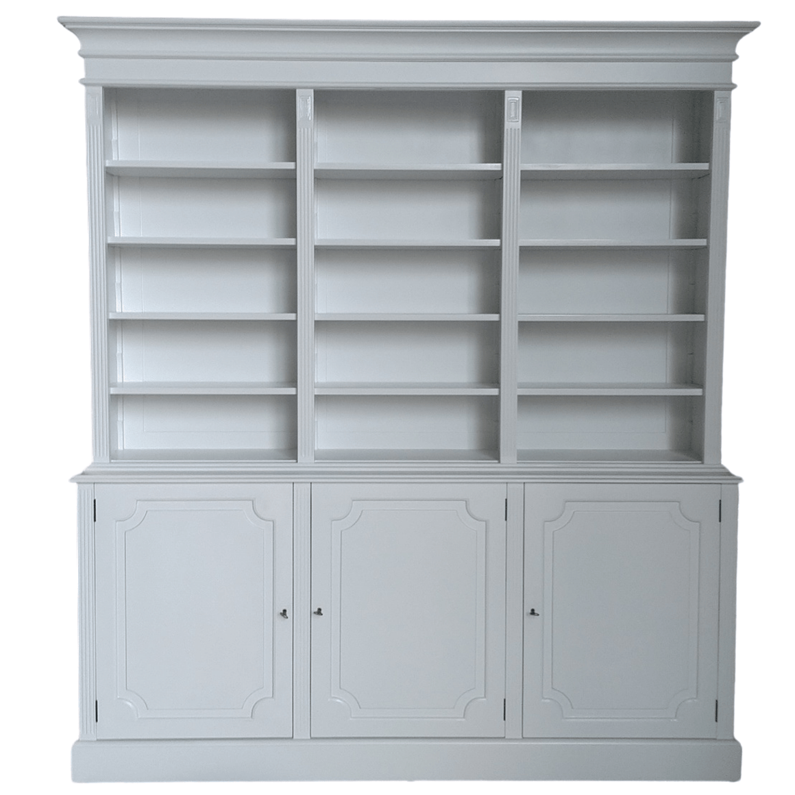 SOLID MAHOGANY HAMPTONS STYLE BOOKCASE/LIBRARY WHITE  C/W ADJUSTABLE SHELVES