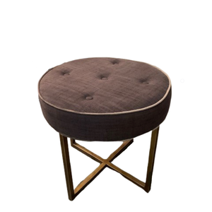 STOOL DARK GREY LINEN  / CHAMPAGNE METAL LEGS