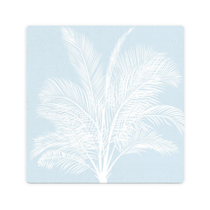 LUXE BLUE PALM CERAMIC COASTER / CORK BACKING
