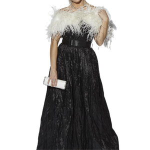 OSTRICH FEATHER SHRUG / BOLERO - CREAM