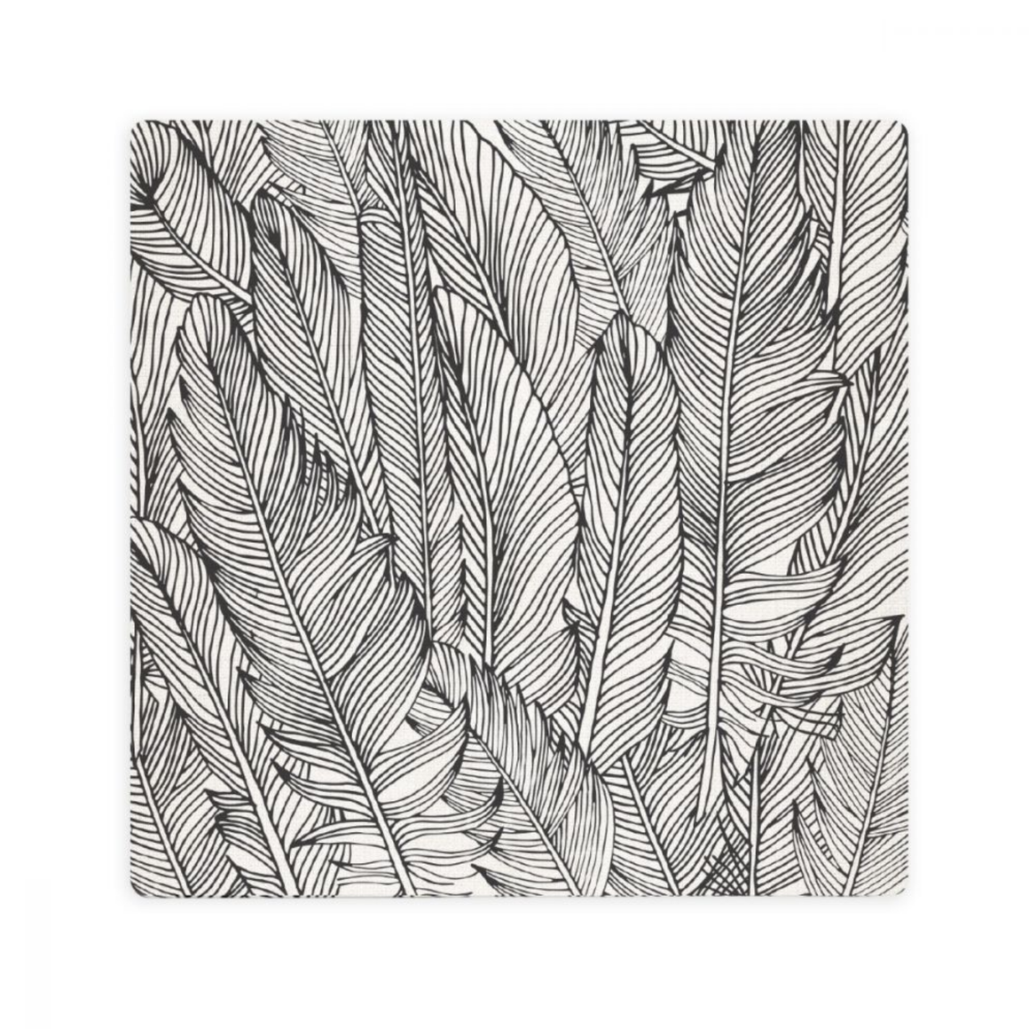 LUXE FEATHER PATTERN CERAMIC COASTER / CORK BACKING
