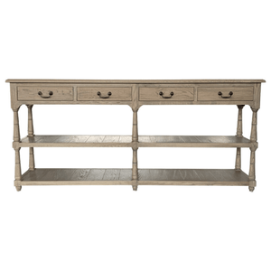 STUNNING SOLID WEATHERED OAK CONSOLE / 4 DRAWERS