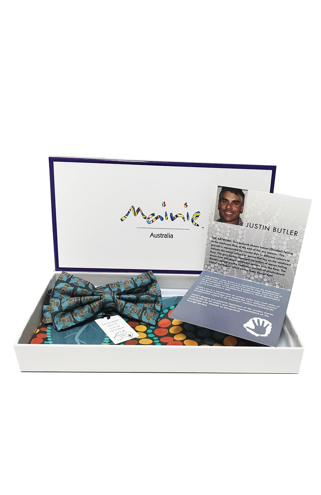 MAINIE BOW TIE & POCKET SQUARE SET - ABORIGINAL ART   100% SILK - Bowerbird on Argyle