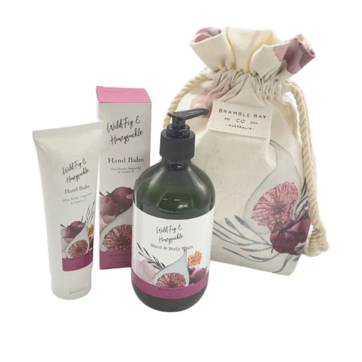 GIFT BAG WILD FIG & HONEYSUCKLE (HAND BALM, BODY WASH & SPONGE)
