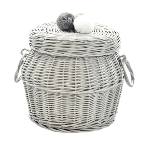 WICKER STORAGE HAMPER HANDCRAFTED LARGE / LITE GREY
