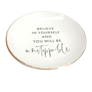 TRINKET/JEWELLERY PLATE  'BELIEVE' - Bowerbird on Argyle