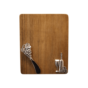 GRAPES & WINE CHEESBOARD + SPREADER (INCLUDES BURLAP GIFT BAG) - Bowerbird on Argyle