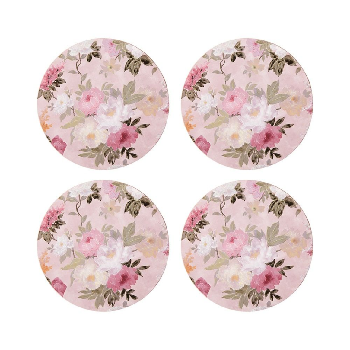 COASTERS - PINK FLORAL SET 4 - CORK BACKING