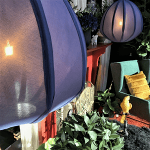 URCHIN LARGE COTTON LANTERN PENDANT LIGHT - BLUE - Bowerbird on Argyle