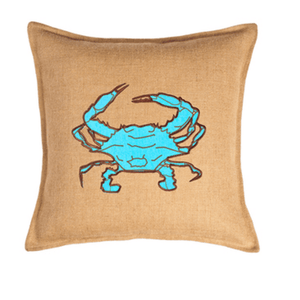 BLUE CRAB BURLAP CUSHION 50CM - Bowerbird on Argyle