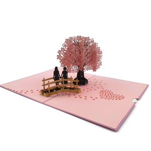 CHERRY BLOSSOM LOVE SCENE SAME SEX FEMALE - 3D POP UP CARD