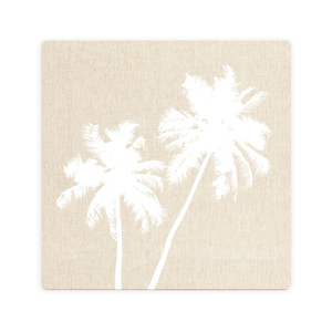 LUXE BEIGE PALM CERAMIC COASTER / CORK BACKING