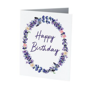 LAVENDER HAPPY BIRTHDAY GREETING CARD