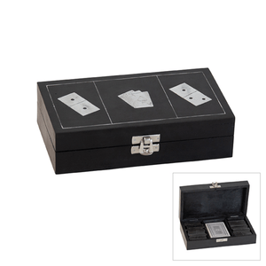BLACK & SILVER DOMINO AND CARD SET - Bowerbird on Argyle