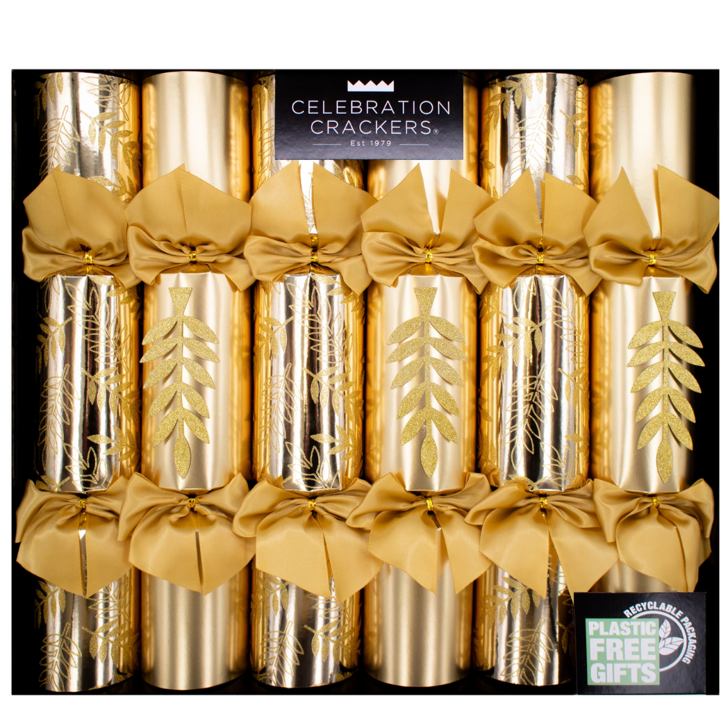 DELUXE GLITTER GOLD LEAF CRACKERS / HANDCRAFTED IN ENGLAND