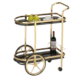 BAR CART - GOLD METAL & BLACK TEMPERED GLASS