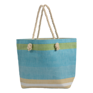 BEACH BAG BLUE  - ROPE HANDLES