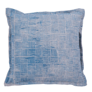 LUMIERE ART + CO. LAMINGTON HANDMADE CUSHION IN PERIWINKLE