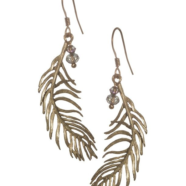 Feather Three Drop Earrings