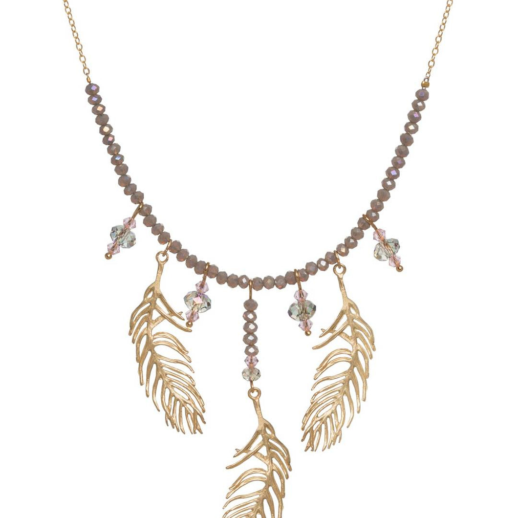 Feather Three Drop Necklace