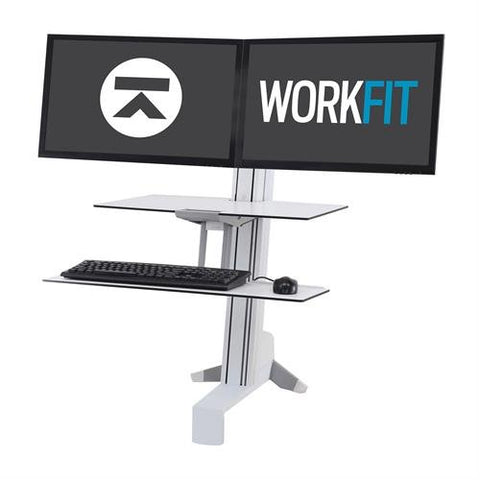 Ergotron 33-350-211 Workfit S Sit Stand Workstation with Worksurface White - Standing Desk Center