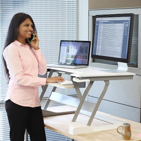Ergotron 33-397-085 WorkFit T Sit Stand Desktop Workstation in Black - Standing Desk Center