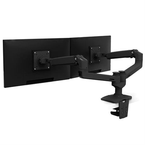 Ergotron 45-245-026 LX Dual Side by Side Monitor Arm Polished Aluminum - Standing Desk Center