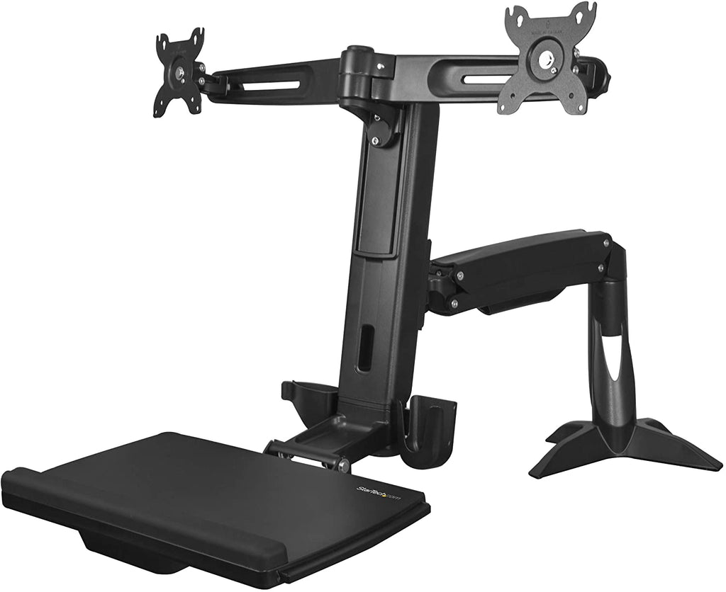 StarTech ARMSTSCP2 Sit Stand Dual Monitor Arm Sit Stand Workstation - Standing Desk Center