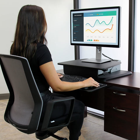 StarTech ARMSTS One-Finger Adjustment Ergonomic Desk Sit-to-Stand Workstation - Standing Desk Center