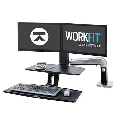 Ergotron 24-392-026 Workfit A Dual Screen With Suspended Keyboard - Standing Desk Center