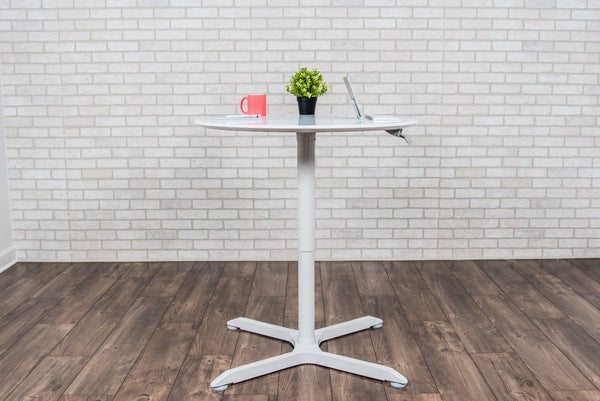 Luxor LX-PNADJ-RD Pneumatic Height Adjustable Standing Round Cafe Table - Standing Desk Center