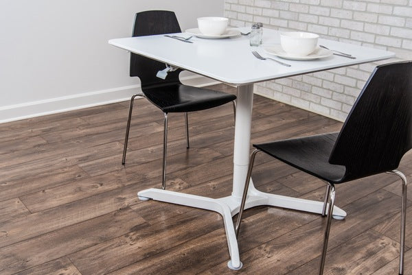 Luxor LX-PNADJ-SQ Pneumatic Height Adjustable Standing Square Cafe Table - Standing Desk Center