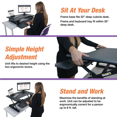 "Victor DCX760G High Rise™ Height Adjustable Standing Desk 36"" Wide Gray - Standing Desk Center"