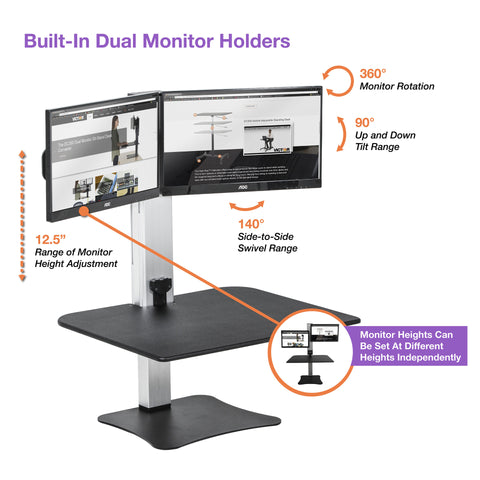 Victor DC450 High Rise™ Electric Dual Monitor Standing Desk Workstation - Standing Desk Center