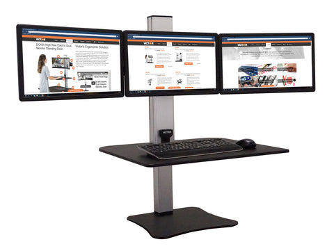 Victor DC475 High Rise™ Electric Triple Monitor Standing Desk - Standing Desk Center