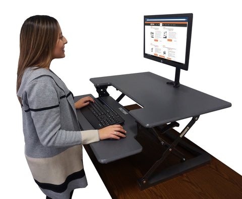 "Victor DCX760G High Rise™ Height Adjustable Standing Desk 36"" Wide Gray"