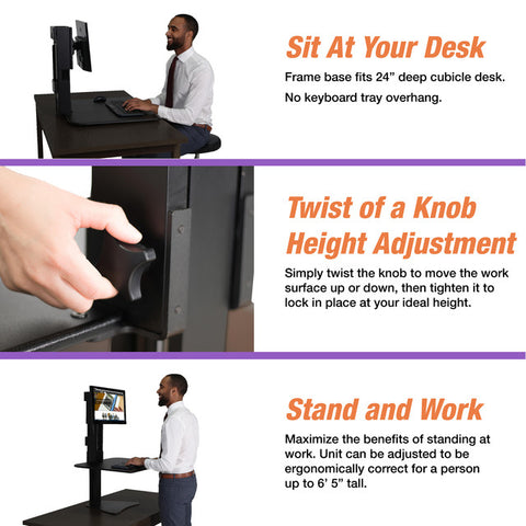 Victor DC300 High Rise™ Manual Single Monitor Standing Desk