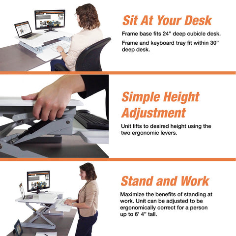 "Victor DCX710W High Rise™ Height Adjustable Standing Desk 31"" Wide White - Standing Desk Center"