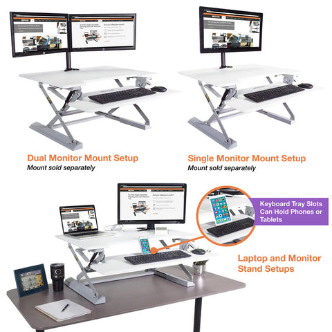 "Victor DCX760W High Rise™ Height Adjustable Standing Desk 36"" Wide White - Standing Desk Center"